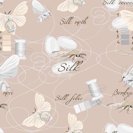 Silk cultivation brown seamless vector pattern