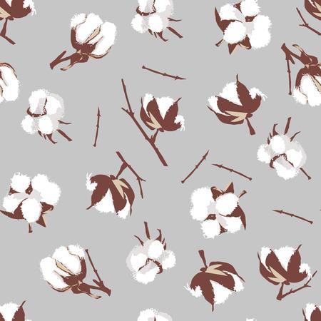 cotton plant: Cotton bolls gray seamless vector pattern, EPS10 file