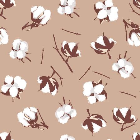 cotton plant: Cotton bolls beige seamless vector pattern, EPS10 file Illustration