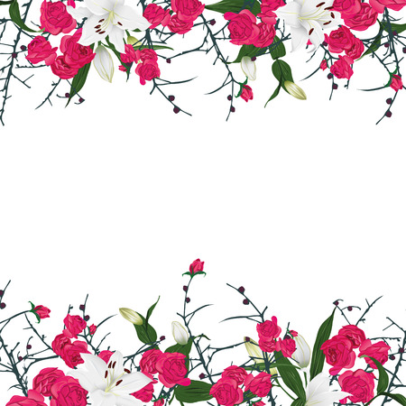 horizontal: Floral ornament horizontal vector frame