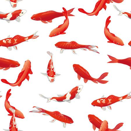 ornamental fish: Koi Red pesci vettore seamless stampa