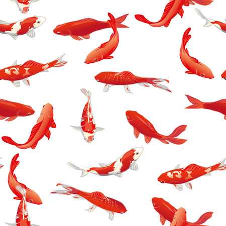 Red koi fishes seamless vector print Çizim