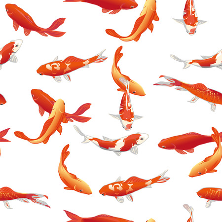 koi fish pond: Golden koi fishes seamless vector print Illustration