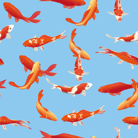Golden koi fishes seamless vector print Çizim
