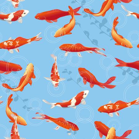 赤鯉魚池のシームレスなベクトルで印刷します。  イラスト・ベクター素材