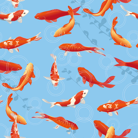 Red koi fishes in the pond seamless vector print