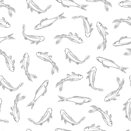 Fish neutral contour seamless pattern