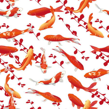 Red koi carps seamless vector print