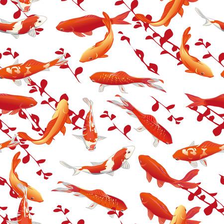Red koi carps seamless vector print