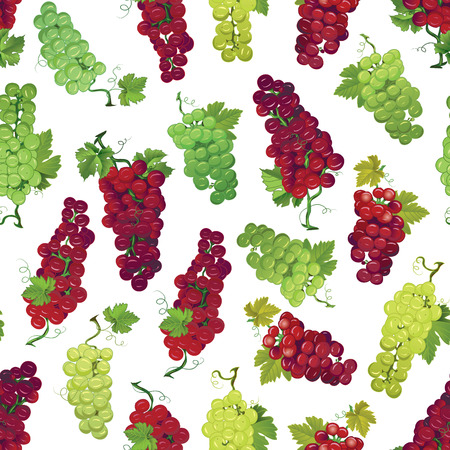 Red and green grapes seamless print Vector