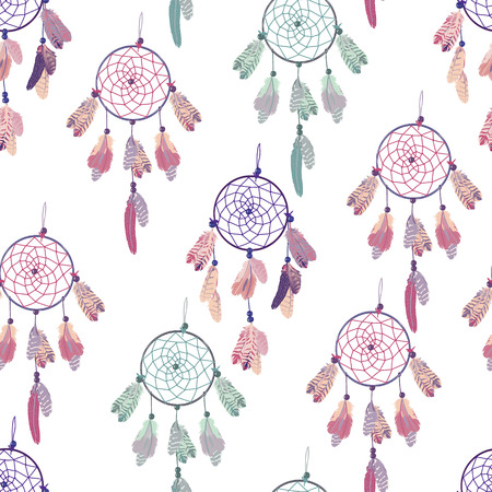 pastel colored: Pastel colored dream catchers vector seamless background