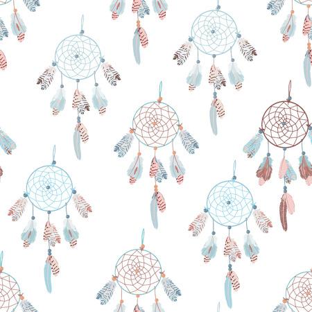 calming: Neutral  dream catcher seamless vector print Calming pattern in blue pastel tones