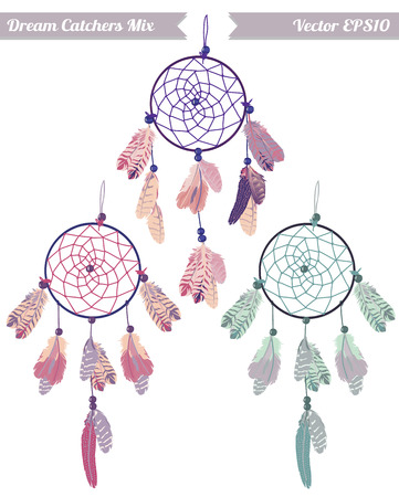 pastel colored: Pastel colored dream catchers vector design elements