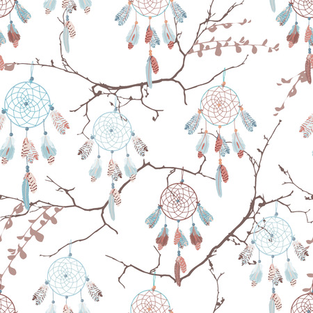 dreamcatcher: Dream catchers on the bare branches seamless vector pattern