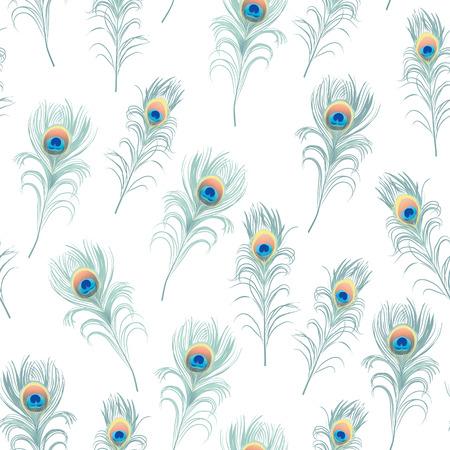 Peacock feathers cyan seamless vector print