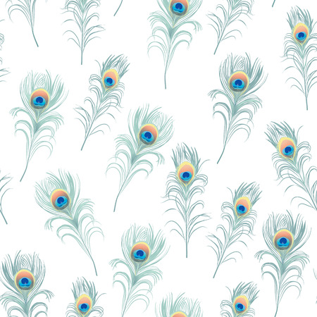 Peacock feathers cyan seamless vector print