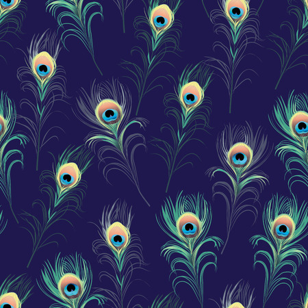 Peacock feathers navy seamless vector print Vector