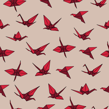 crane origami: Beige and red crane origami seamless vector pattern Illustration