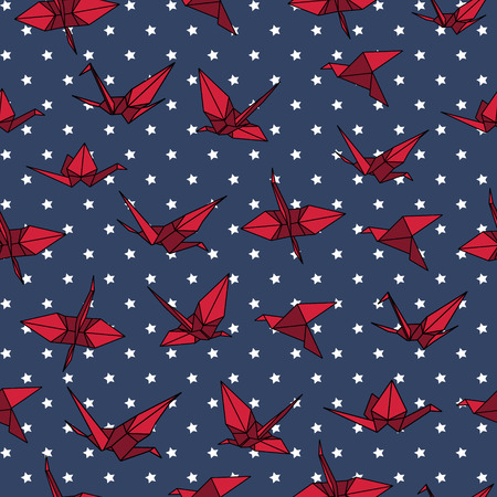 crane origami: Navy and red crane origami seamless vector pattern