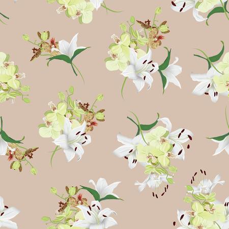 amande: Lys et d'orchid�es amande seamless fond