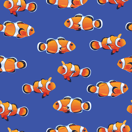 clownfish: Amphiprioninae (Clownfish) blue seamless vector pattern
