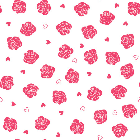Pink roses and hearts scattering seamless vector pattern Vector