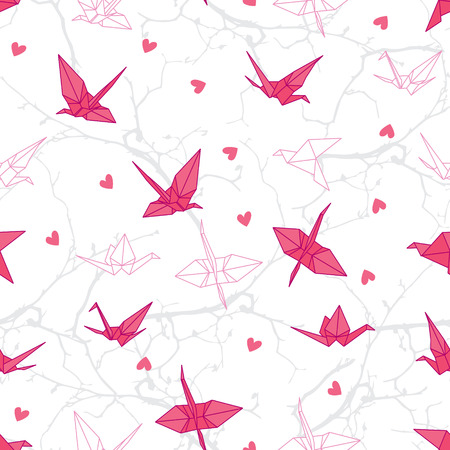 Origami cranes in love on the branches seamless vector print