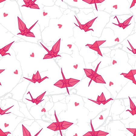 barren: Origami cranes in love on the branches seamless vector print