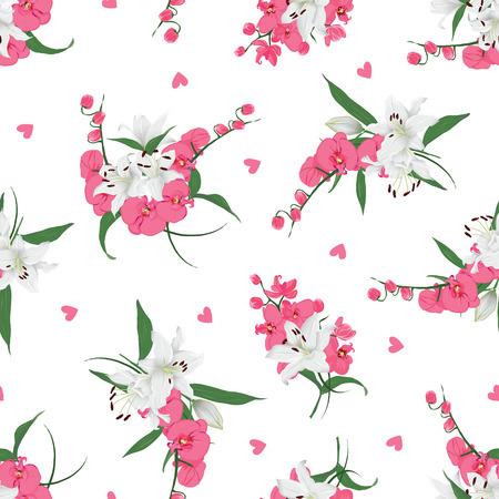 Lilies and orchids bouquet seamless print Vector floral pattern with scattered hearts Illusztráció