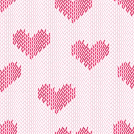 Knitting hearts simple seamless print
