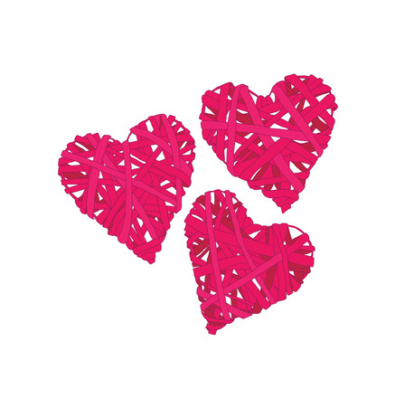 spliced: Pink wicker hearts design elements Illustration