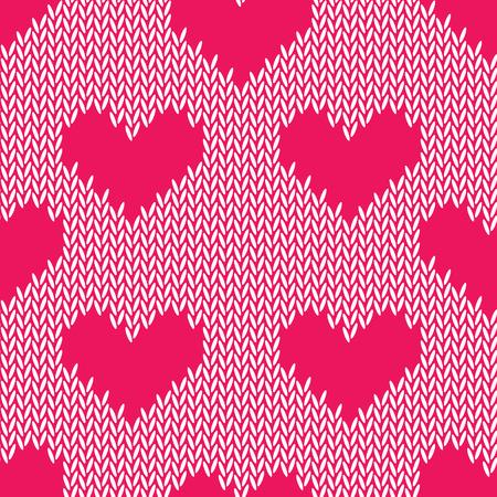 crimson: Knitting hearts simple seamless print