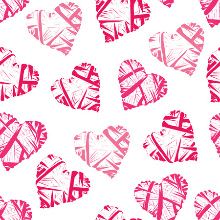 Pink wicker hearts seamless vector print
