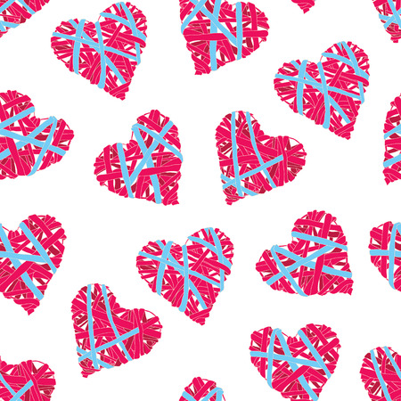 Striped blue and red wicker hearts seamless vector print