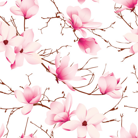 Delicate magnolia flowers seamless vector pattern Vector