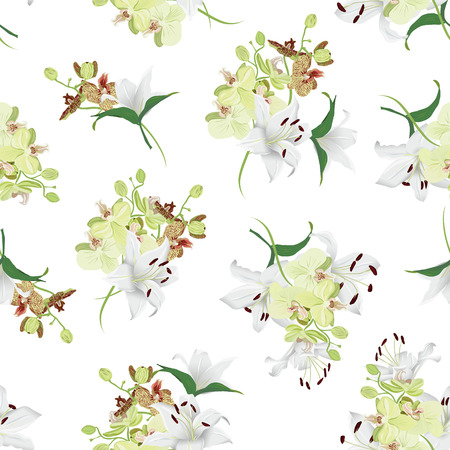 tiger lily: Lily and tiger orchid bouquets seamless vector print Illustration