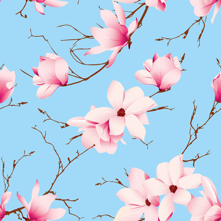 Blue skies and magnolia flowers seamless vector pattern