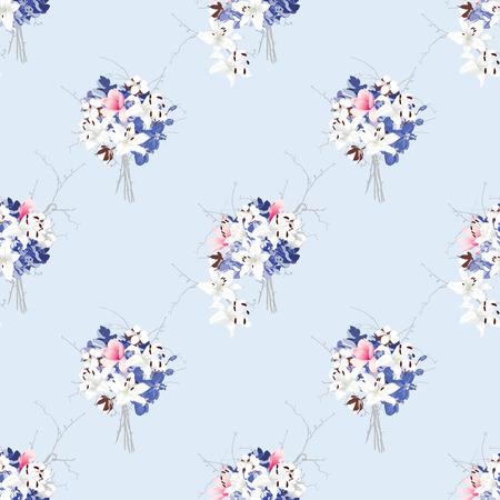 rococo style: Estilo rococ� Modelo incons�til del vector de la magnolia, hortensias, algod�n, orqu�dea, lirio