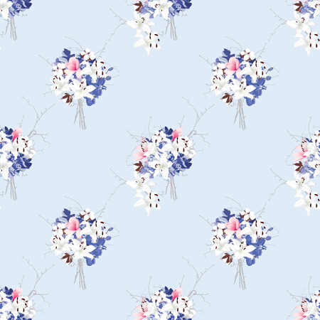 Rococo style seamless vector pattern Magnolia, hydrangea, cotton, orchid, lily Vector