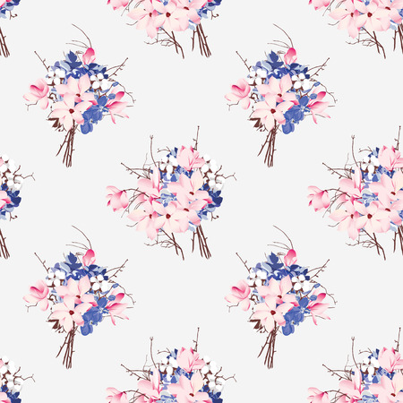 French style seamless vector pattern Magnolia, hydrangea, cotton, orchid Vector