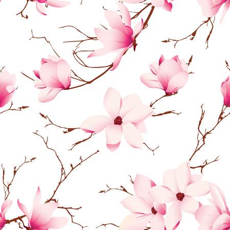 magnolia tree: Fragile magnolia flowers seamless vector pattern Illustration