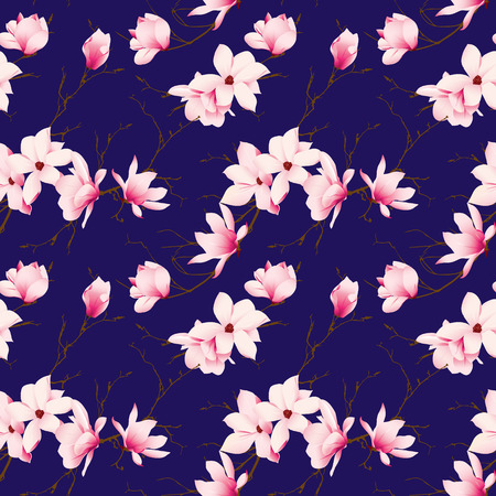 Spring magnolia navy seamless vector pattern