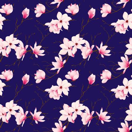magnolia: Spring magnolia navy seamless vector pattern
