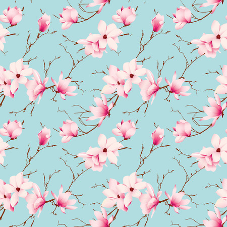 Spring magnolia mint seamless vector pattern Vector