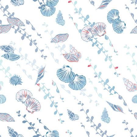 calming: Calming blue sea shore seamless vector pattern