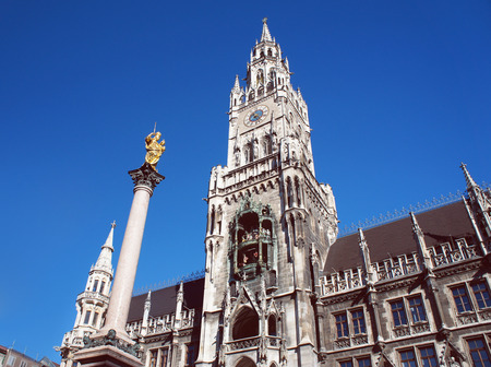 bayern old town: New city hall of Munich and Mariensaeule