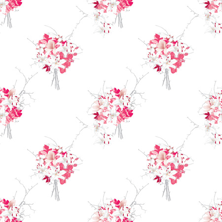 french style: French style pink bouquets seamless vector pattern Illustration