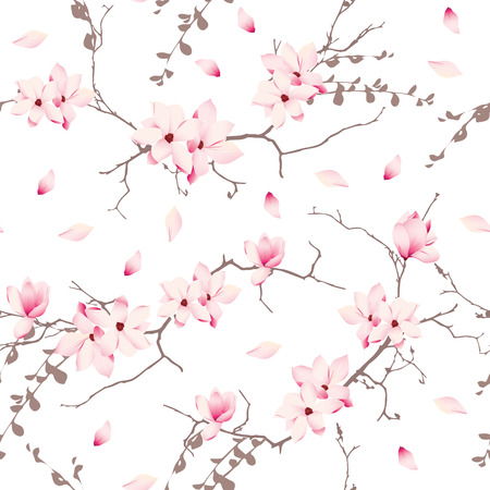 Magnolia blossom trees seamless vector pattern