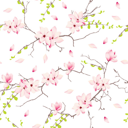 Magnolia spring trees seamless vector print 일러스트
