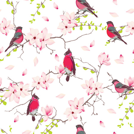 magnolia tree: Red bullfinches on the magnolia tree vector seamless print Illustration